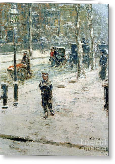 Oil Lamp Greeting Cards - Snow Storm on Fifth Avenue Greeting Card by Childe Hassam