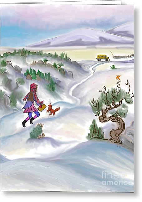 Snow Tang - Story Illustration 5 - Age 12 Greeting Card by Dawn Senior-Trask