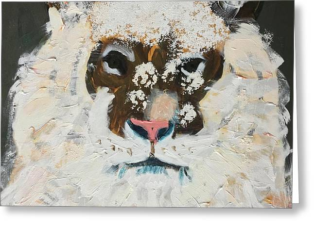 Greeting Card featuring the painting Snow Tiger by Donald J Ryker III