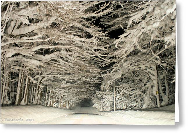 Snow Tunnel At Night Greeting Card