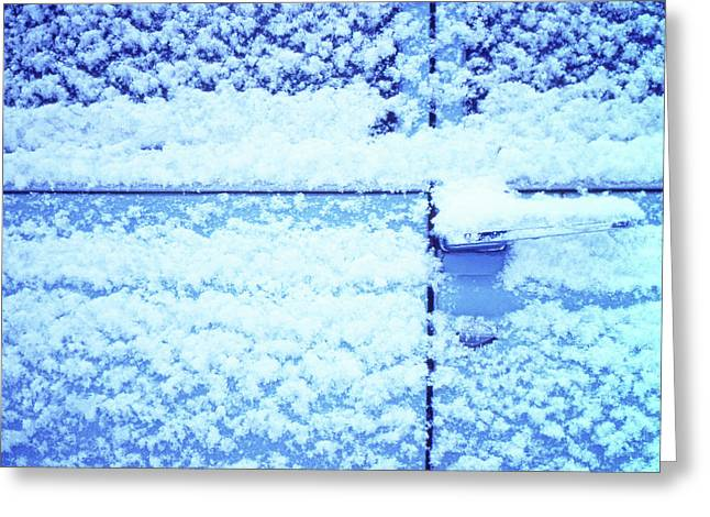 Greeting Card featuring the photograph Snow Van 51 Chevy Panel by Laurie Stewart