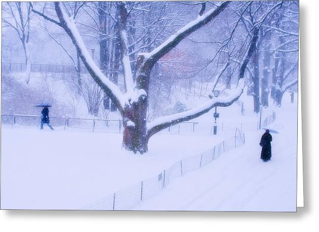 Greeting Card featuring the photograph Snow Walk Central Park by Dave Beckerman