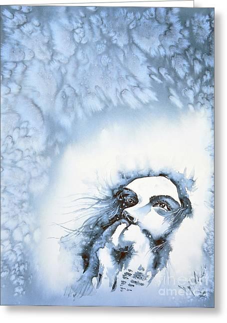 Snow Greeting Card by Zaira Dzhaubaeva