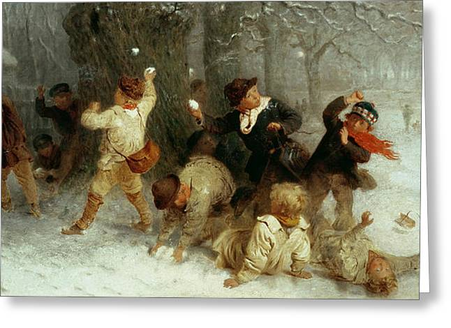 Snowballing Greeting Card by John Morgan