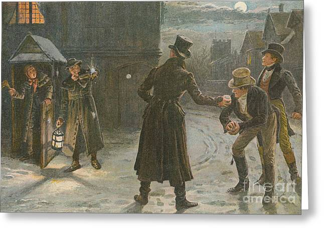 Snowballing The Watchmen Greeting Card by George Goodwin Kilburne