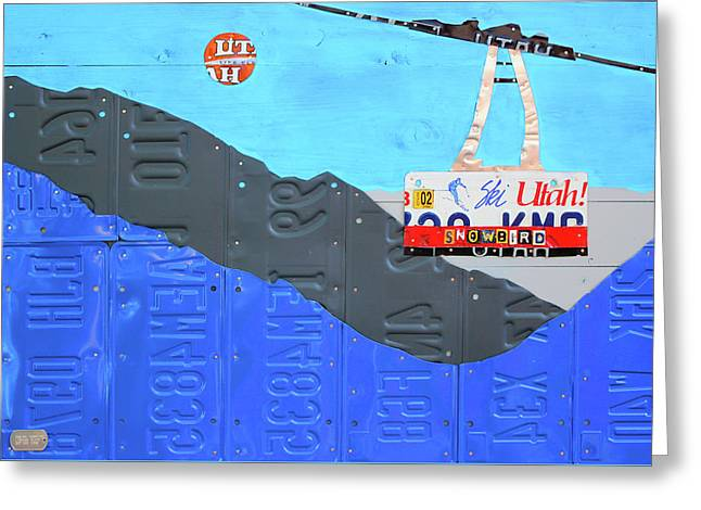 Snowbird Ski Resort Lift Utah License Plate Art Greeting Card by Design Turnpike