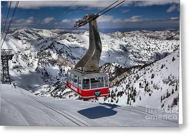 Snowbird Tram Approaching Hidden Peak Greeting Card