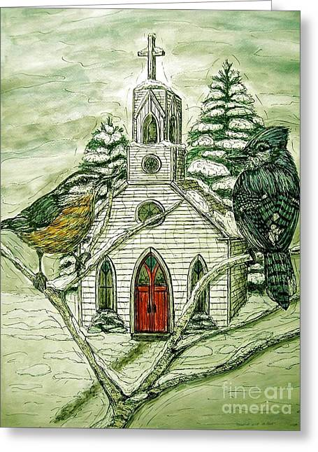 Snowbirds Visit St. Paul Greeting Card by Kim Jones