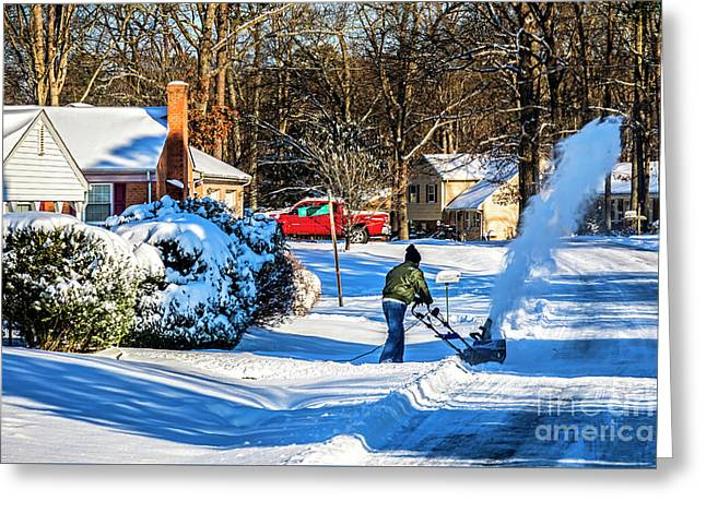 Snowblower In Richmond Blowing Snow 6397ct Greeting Card by Doug Berry