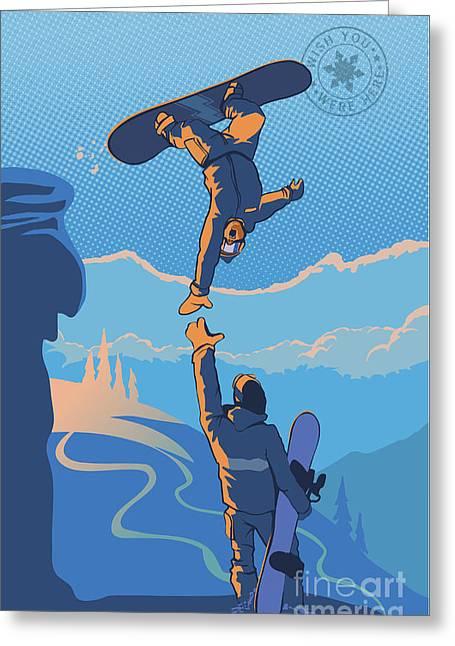 Snowboard High Five Greeting Card