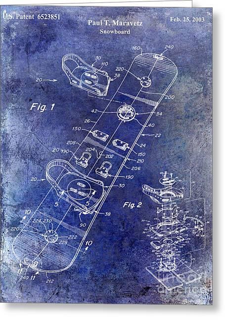 Snowboard Patent Drawing Blue Greeting Card by Jon Neidert