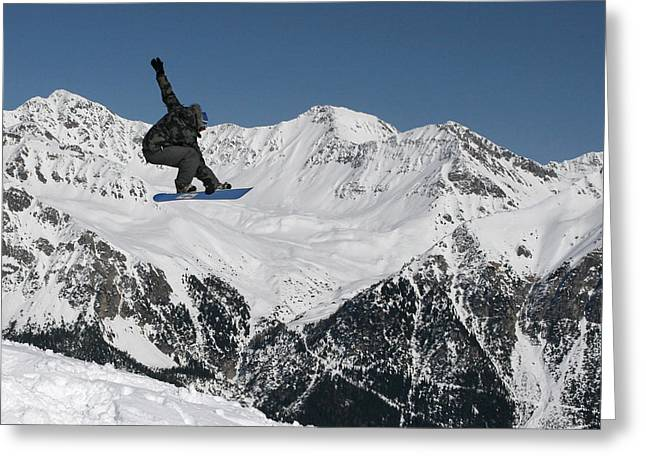 Snowboarder Indy Grab Switzerland Greeting Card by Pierre Leclerc Photography