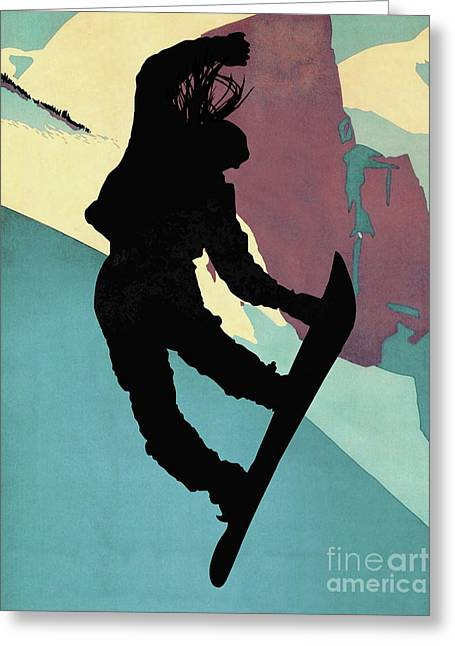 Snowboarding Betty, Morning Light Greeting Card by Tina Lavoie