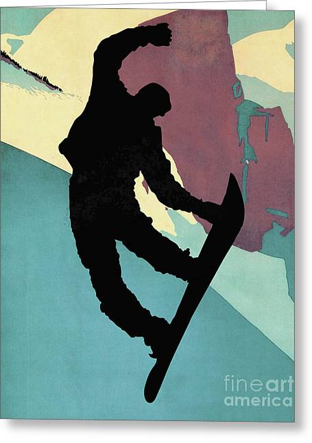 Snowboarding Dude, Morning Light Greeting Card