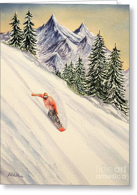 Greeting Card featuring the painting Snowboarding Free And Easy by Bill Holkham