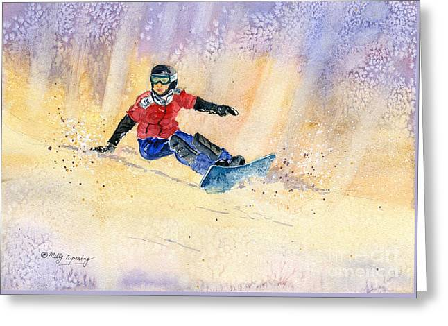 Snowboarding Greeting Card by Melly Terpening