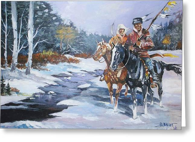 Snowbound Hunters Greeting Card