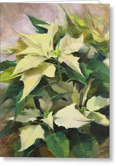 Snowcap Poinsettia Greeting Card by Anna Rose Bain