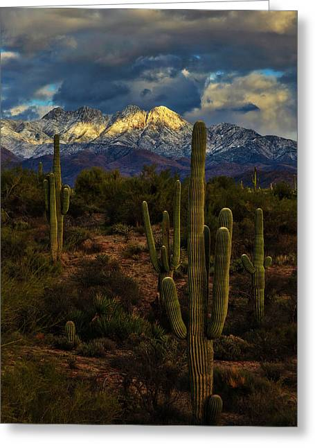 Snowcapped Four Peaks Greeting Card