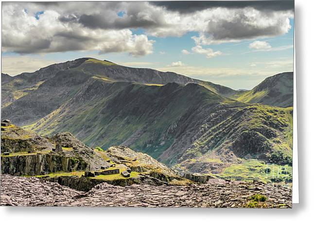 Snowdon Moutain Range Greeting Card by Adrian Evans