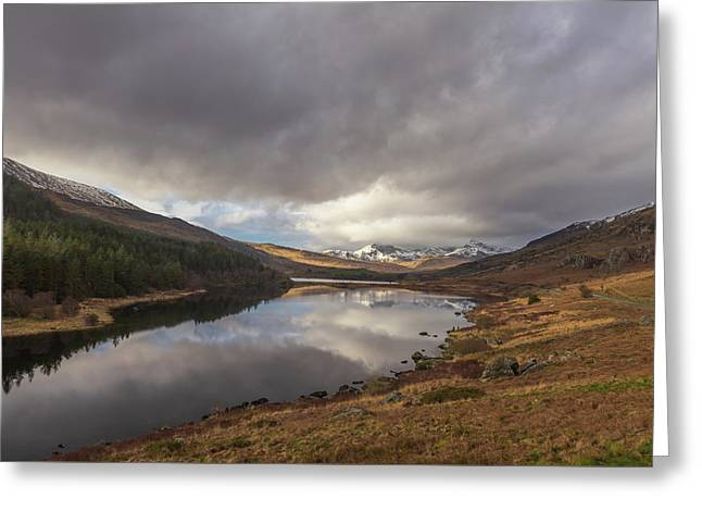 Snowdon Reflection Greeting Card by Chris Fletcher