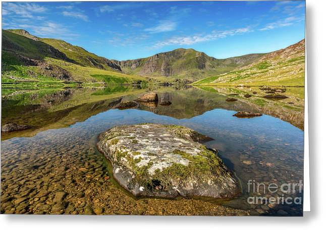 Snowdonia Mountain Reflections Greeting Card by Adrian Evans