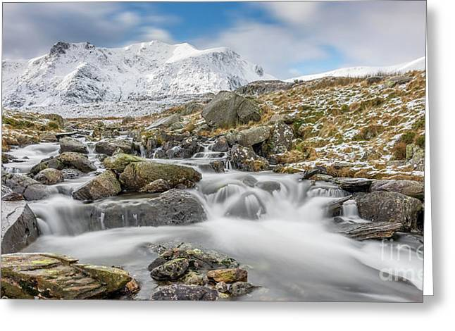 Snowdonia Mountain River Greeting Card by Adrian Evans