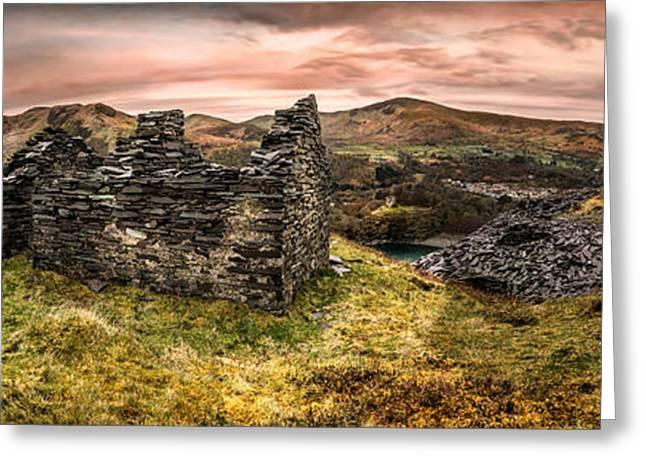 Snowdonia Ruins Panorama Greeting Card
