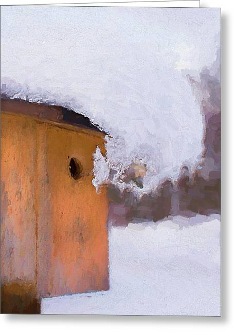 Greeting Card featuring the photograph Snowdrift On The Bluebird House by Gary Slawsky