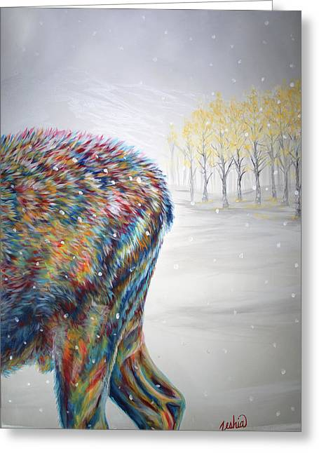 Snowdrifter Triptych Panel 3 Greeting Card by Teshia Art