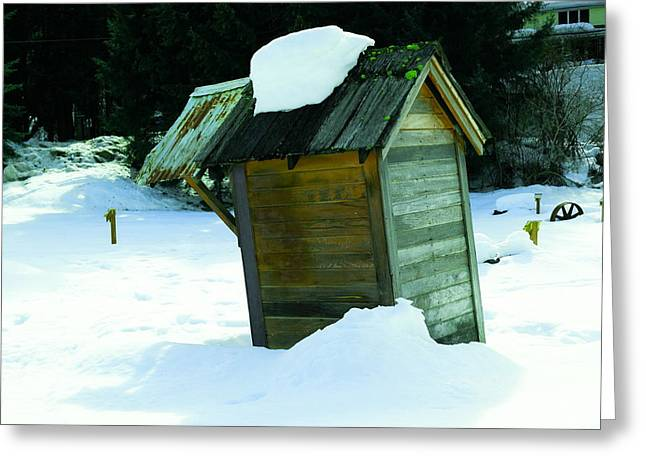 Snowed In Outhouse Greeting Card by Jeff Swan