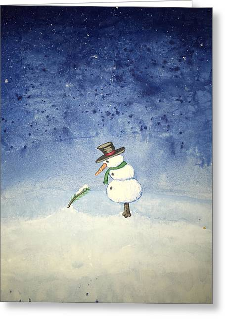 Greeting Card featuring the painting Snowfall by Antonio Romero
