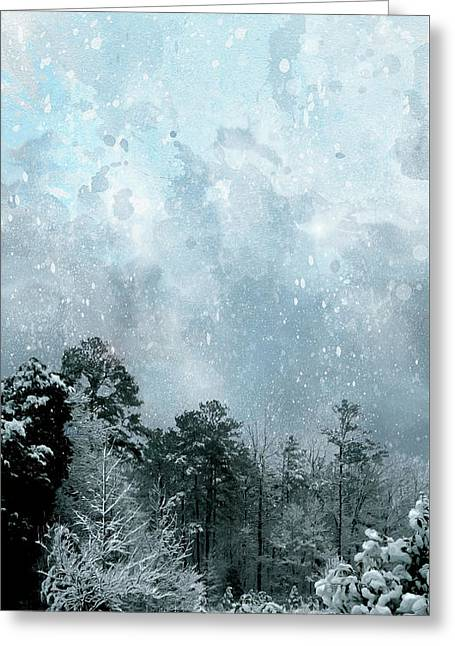 Greeting Card featuring the digital art Snowfall by Gina Harrison