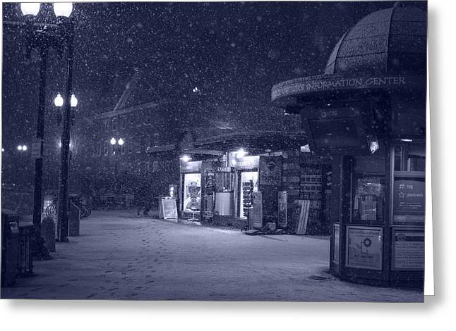 Snowfall In Harvard Square Cambridge Ma Kiosk Monochrome Blue Greeting Card by Toby McGuire