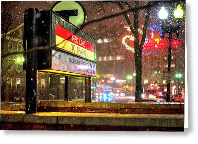 Snowfall In Harvard Square Cambridge Ma Red Line Mbta Greeting Card