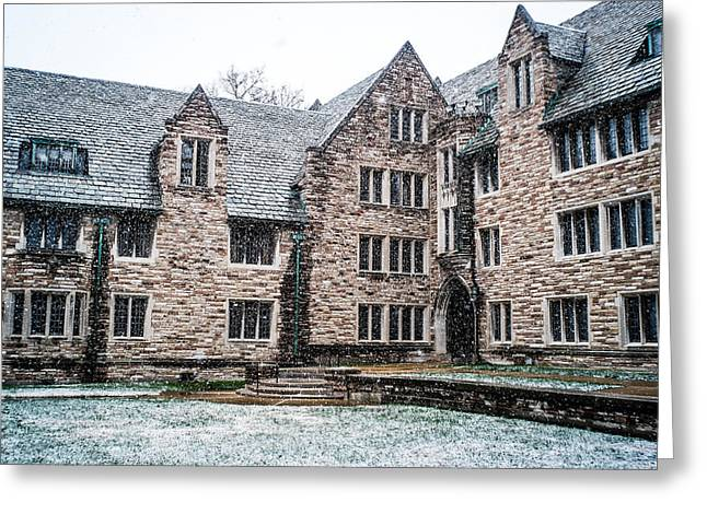 Snowfall On The Quad Greeting Card by Rudy Owens