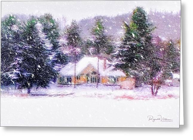 Snowfall On The Winter Cottage Greeting Card