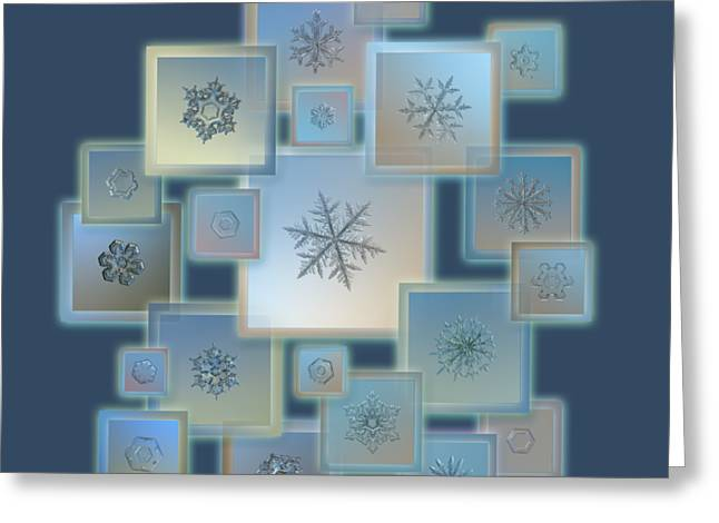 Snowflake Collage - Bright Crystals 2012-2014 Greeting Card
