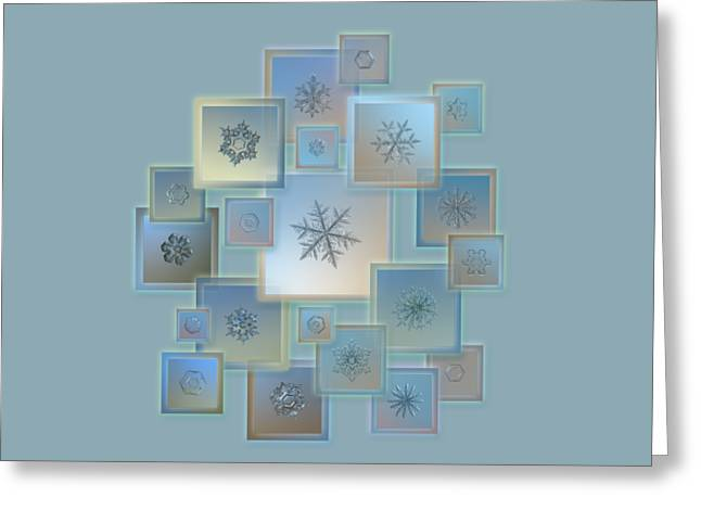 Greeting Card featuring the photograph Snowflake Collage - Bright Crystals 2012-2014 by Alexey Kljatov