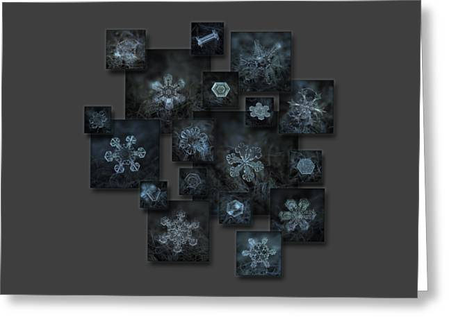 Snowflake Collage - Dark Crystals 2012-2014 Greeting Card