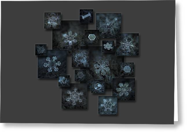 Greeting Card featuring the photograph Snowflake Collage - Dark Crystals 2012-2014 by Alexey Kljatov