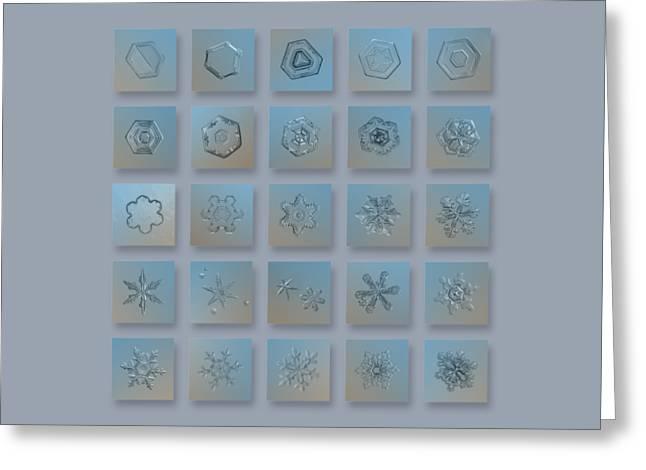 Snowflake Collage - Season 2013 Bright Crystals Greeting Card