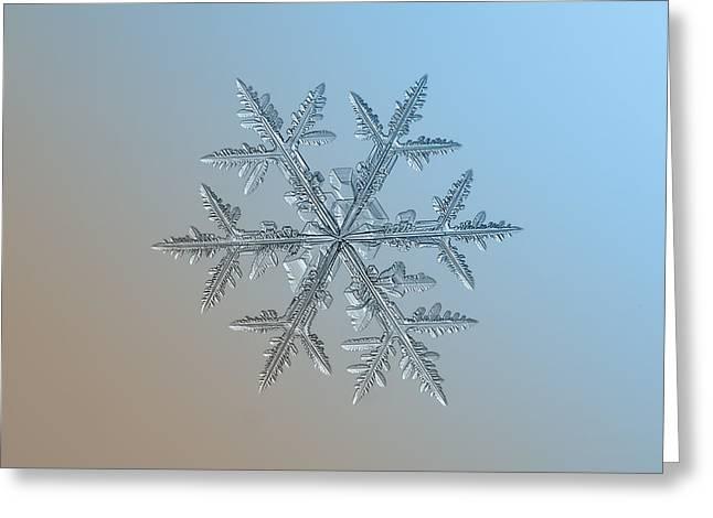 Greeting Card featuring the photograph Snowflake Photo - Asymmetriad by Alexey Kljatov