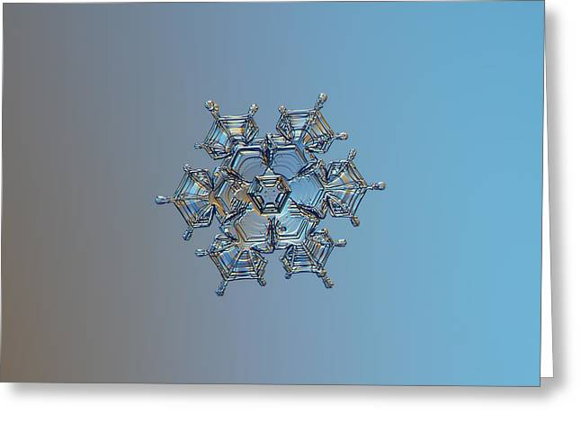 Snowflake Photo - Flying Castle Greeting Card by Alexey Kljatov