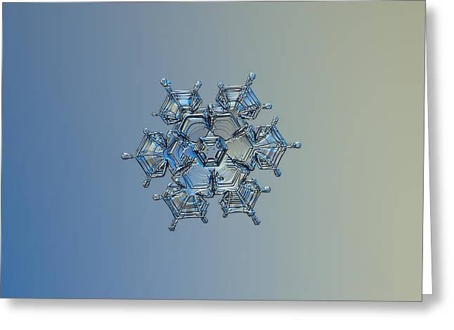 Greeting Card featuring the photograph Snowflake Photo - Flying Castle Alternate by Alexey Kljatov