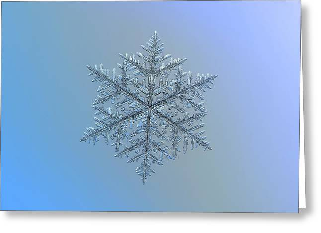 Greeting Card featuring the photograph Snowflake Photo - Majestic Crystal by Alexey Kljatov