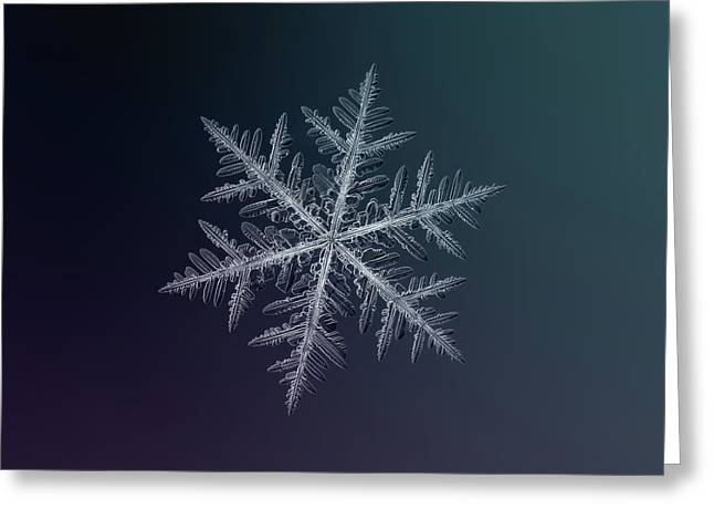 Greeting Card featuring the photograph Snowflake Photo - Neon by Alexey Kljatov