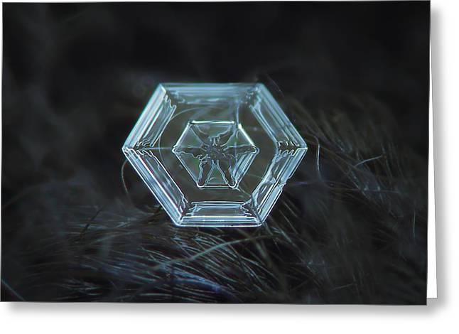 Snowflake Photo - Radiant Green Greeting Card