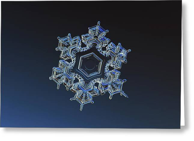 Greeting Card featuring the photograph Snowflake Photo - Spark by Alexey Kljatov
