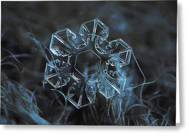 Snowflake Photo - The Core Greeting Card by Alexey Kljatov
